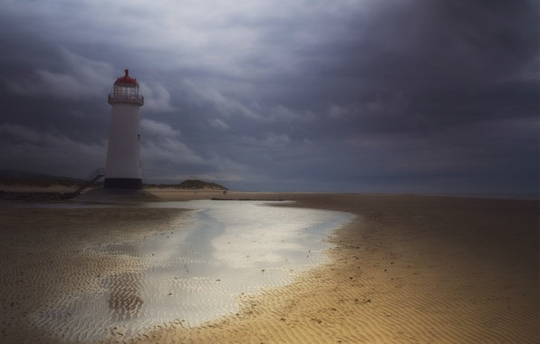 Picture sand, the storm, the sky, water, clouds, lighthouse, England, UK, Wales, lighthouse