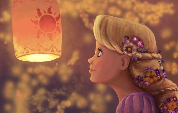 Picture girl, flowers, art, flashlight, profile, Rapunzel