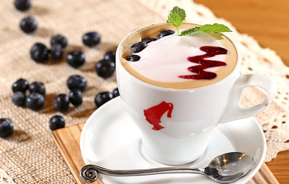 Picture foam, berries, coffee, milk, blueberries, spoon, Cup, cappuccino, saucer, jam, topping