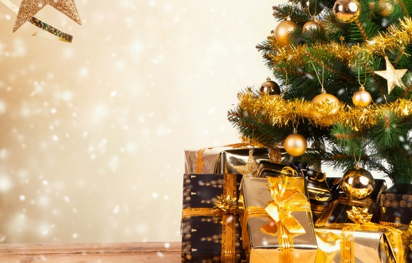 Picture holiday, Wallpaper, toys, tree, gifts, New year, tinsel, box, New Year