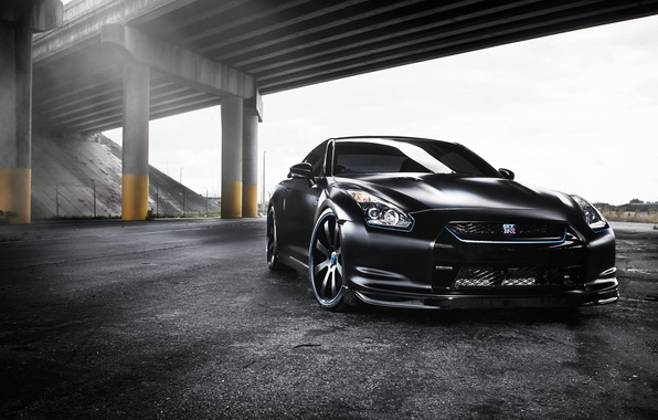 Picture black, tuning, overpass, GTR, supercar, Nissan, Nissan, tuning, the front, gtr, R-35, R-35