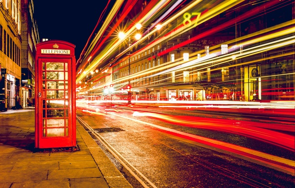 Picture night, lights, street, England, London, excerpt, phone, phone booth, long, London, England, telephone