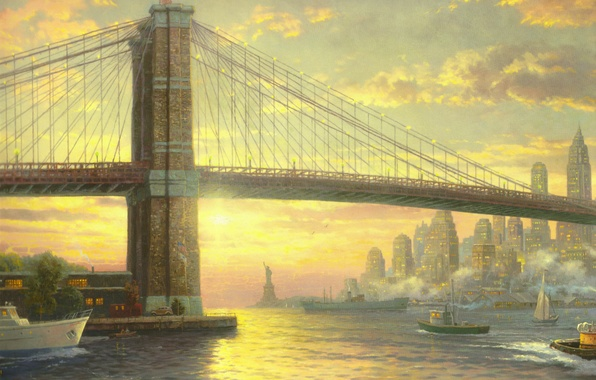Picture bridge, city, the ocean, building, New York, flag, boat, sail, USA, USA, painting, megapolis, bridge, …