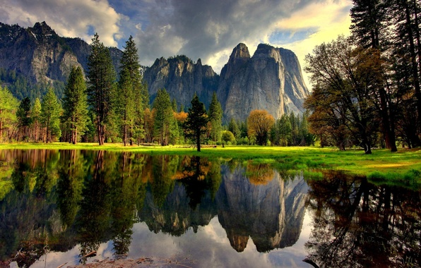 Picture water, trees, mountains, nature, lake, reflection, CA, USA, USA, Yosemite, Yosemite National Park