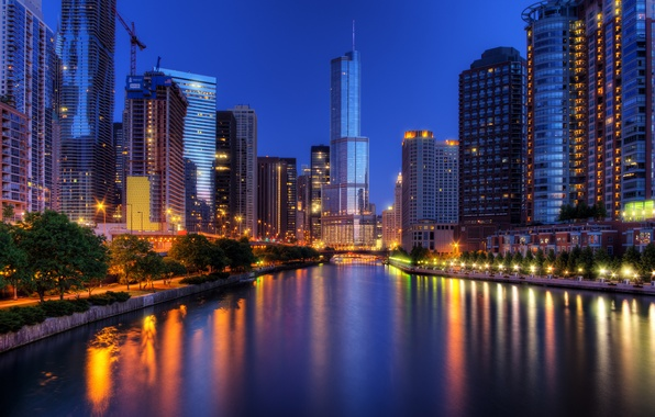 Picture night, the city, lights, skyscrapers, Chicago, USA, Chicago, Illinois