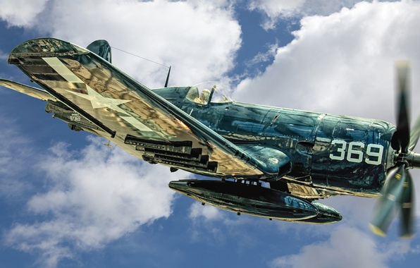 Picture fighter, Marine, Corsair, deck, F4U-4