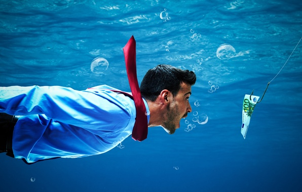 Picture bubbles, the situation, humor, tie, male, under water, bill, floats, hook, bait, clothing