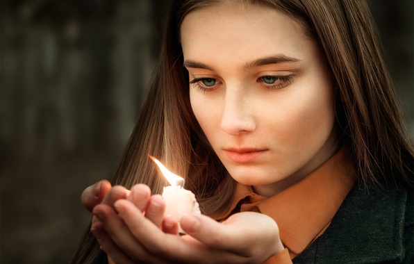Picture girl, memory, candle, Thoughts