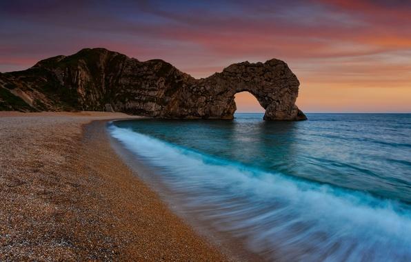 Picture sea, water, sunset, nature, pebbles, rock, stones, the ocean, rocks, shore, coast, landscapes, stone, the …