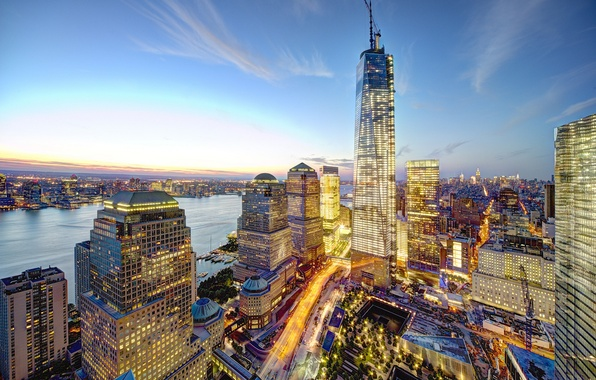 Picture the city, lights, building, home, New York, skyscrapers, the evening, panorama, USA, USA, Manhattan, New …