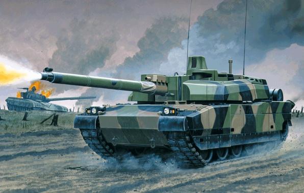 Picture art, painting, tank, AMX Leclerc