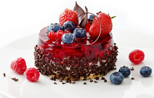 Picture berries, raspberry, food, chocolate, blueberries, strawberry, plate, sweets, cake, cream, dessert, jelly, blueberries
