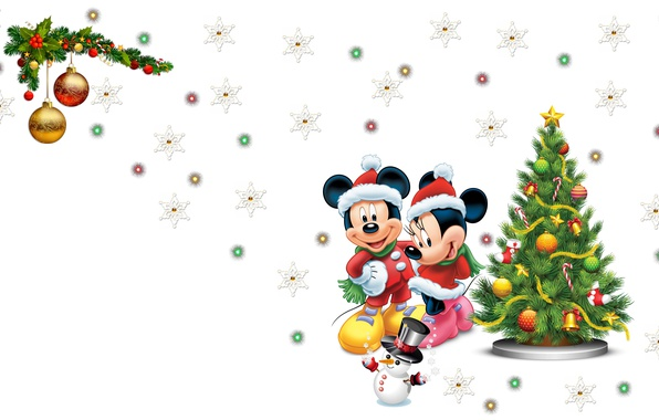 Picture mood, holiday, new year, lights, art, snowman, Disney, herringbone, mouse, snowflake, Mickey mouse, Mickey Mouse, ...