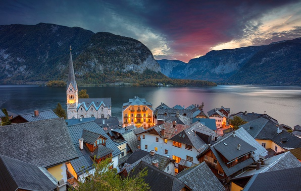 Picture mountains, lake, home, the evening, Austria, roof, Alps, Church, Austria, Hallstatt, Alps, Lake Hallstatt, Hallstatt, …