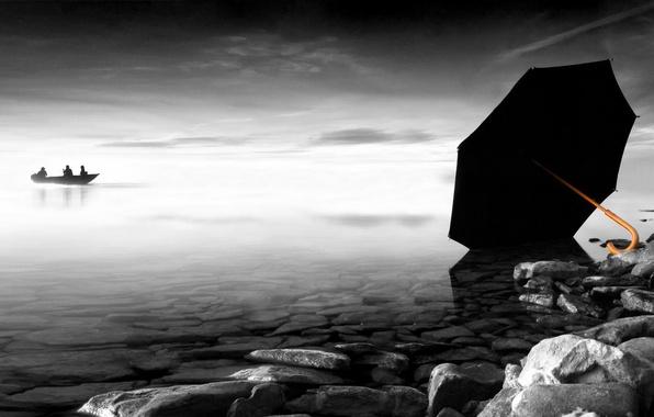 Picture stones, boat, umbrella, Black and White