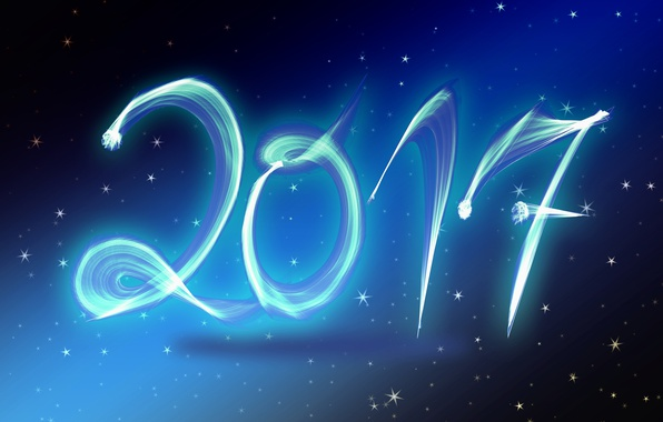 Picture stars, blue, background, holiday, blue, graphics, new year, stars, figures, date, 2017, new 2017