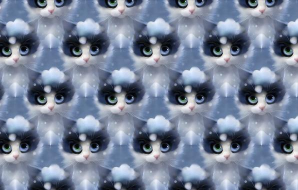 Photo wallpaper winter, cat, snow, texture, art, apofiss