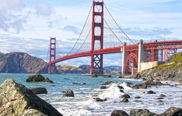 Picture wave, the sky, water, clouds, bridge, Strait, stones, shore, Golden Gate, USA, San Francisco
