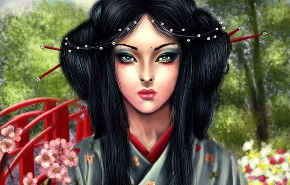 Picture look, trees, face, hair, makeup, art, geisha, kimono, the bridge, asa mitsuko