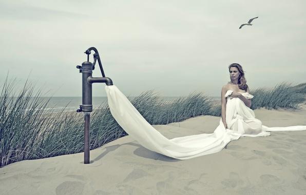 Picture sand, girl, shore, column, Salt Water