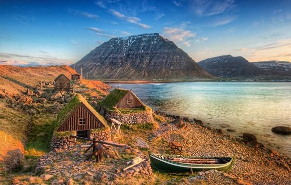 Picture sea, mountains, coast, boat, Iceland, Iceland, Isafjordur