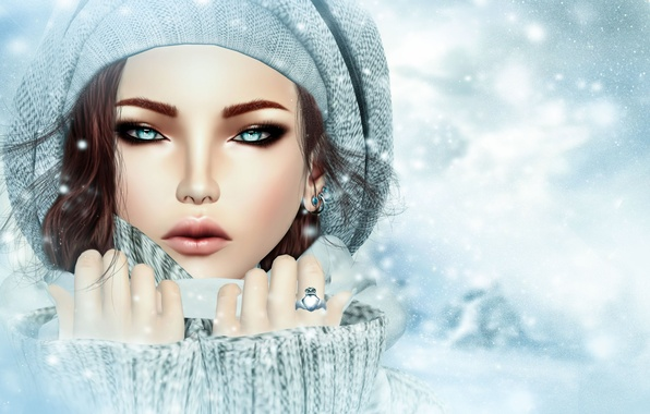 Picture cold, winter, look, girl, face, rendering, hat