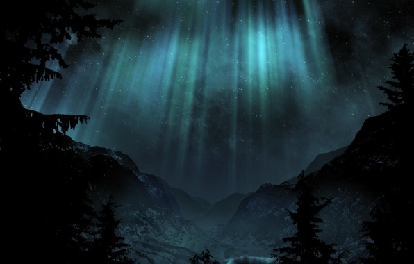 Picture mountains, night, lights, Trees