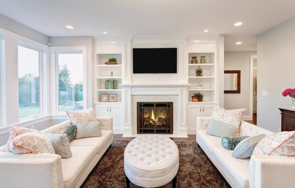 Picture design, room, furniture, interior, fireplace, soft