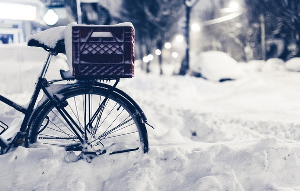 Picture winter, road, macro, snow, nature, bike, street, the evening