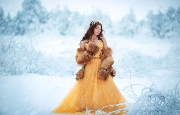 Picture girl, snow, decoration, dress, fur, Winter