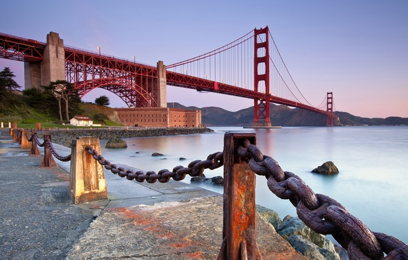 Picture bridge, the city, Strait, stones, the evening, fence, CA, San Francisco, Golden Gate, USA, USA, …