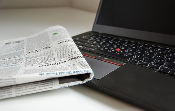 Photo wallpaper newspaper, laptop, bokeh