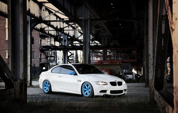 Picture white, bridge, the city, the building, BMW, BMW, white, E92, IND