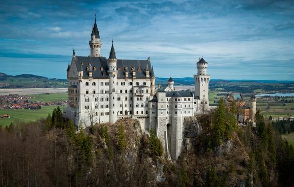 Picture trees, river, castle, field, home, Germany, Bayern, panorama, Germany, Neuschwanstein, Bavaria, Neuschwanstein Castle