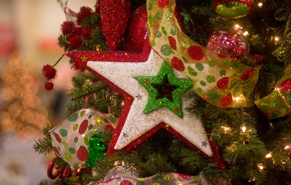 Picture decoration, toys, star, tape, tree