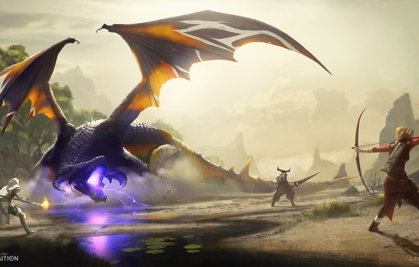 Picture dragon, warrior, Archer, MAG, battle, Dragon Age: Inquisition, Gamoran Stormrider, Kunar
