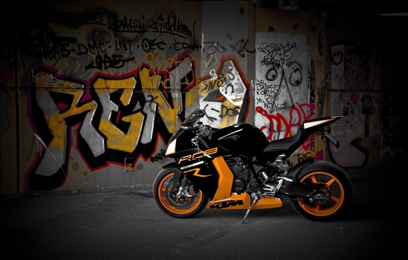 Picture motorcycle, wheels, drives, orange, black, bike, KTM, orange, rc8 r, ferny