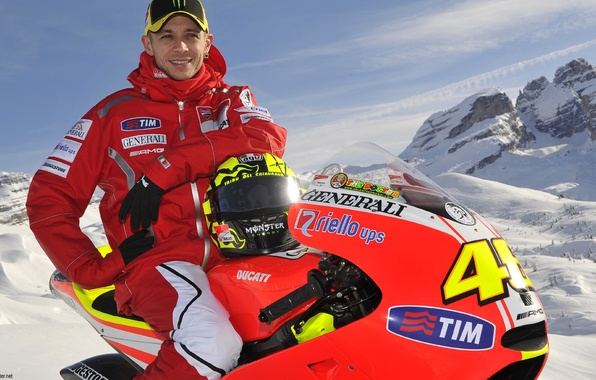 Picture the sky, snow, mountains, sport, Dr., helmet, Motorsport, snowmobile, Valentino Rossi