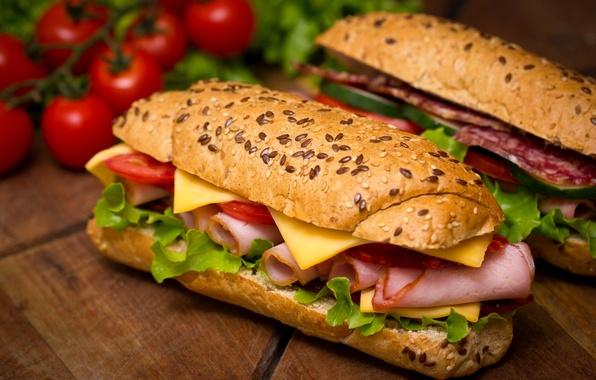 Picture cheese, tomatoes, salad, buns, cherry, sandwiches, salmon, ham, sandwiches, baton, salami