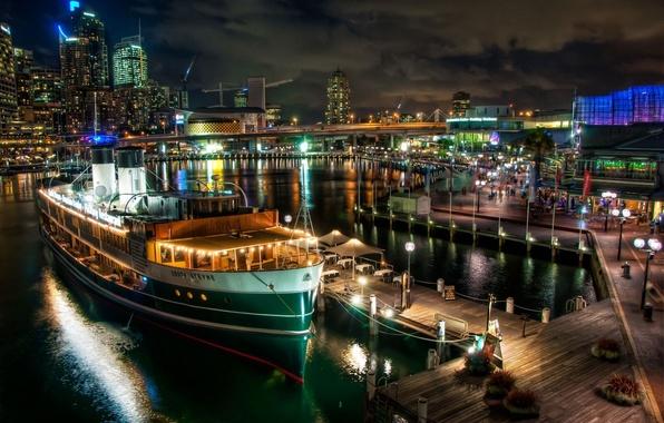 Picture bridge, the city, lights, ship, building, Marina, pier, Australia, steamer, Sydney, Australia, Sydney