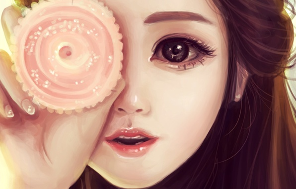 Picture flower, girl, face, hand, round, art