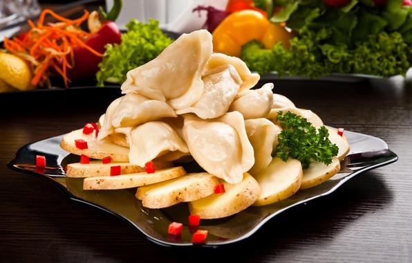 Picture leaves, pepper, dumplings, potatoes, pepper, vegetables, pelmeni