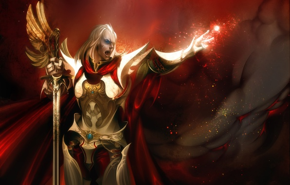 Picture magic, sword, armor, Warrior, male