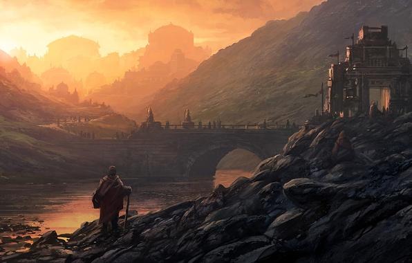 Picture landscape, bridge, the city, river, sunrise, stones, people, castle, hills, art, Andreas Rocha