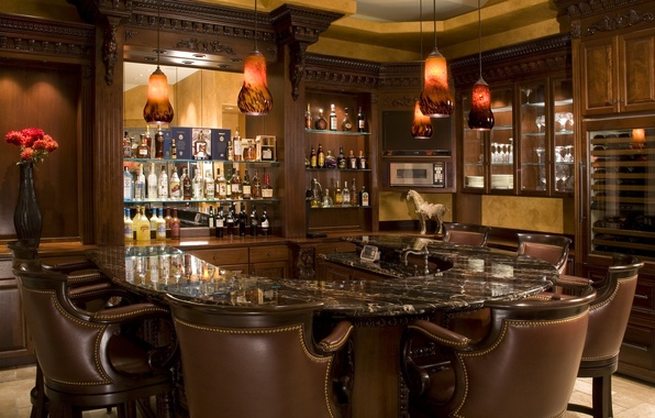 Picture chairs, bar, vase, drinks, design, bar, lamp.