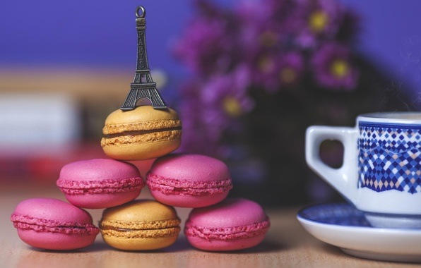 Picture Eiffel tower, food, cookies, mug, Cup, sweets, souvenir, macaron, macaron