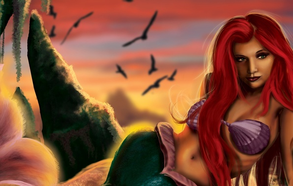 Picture the sky, look, birds, face, fiction, mermaid, art, tail, shell, fin, red hair