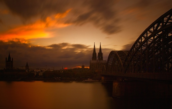Picture the sky, landscape, bridge, river, the evening, Germany, Cathedral, Cologne