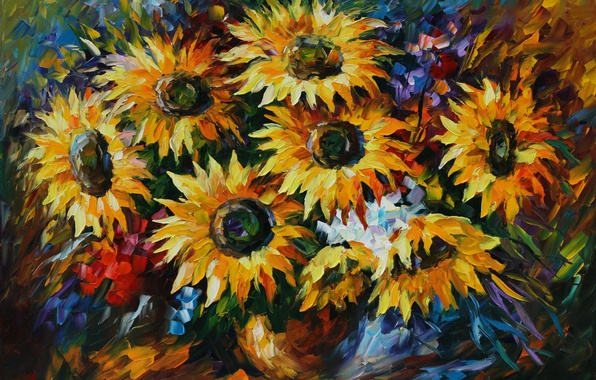 Picture sunflowers, flowers, painting, Leonid Afremov