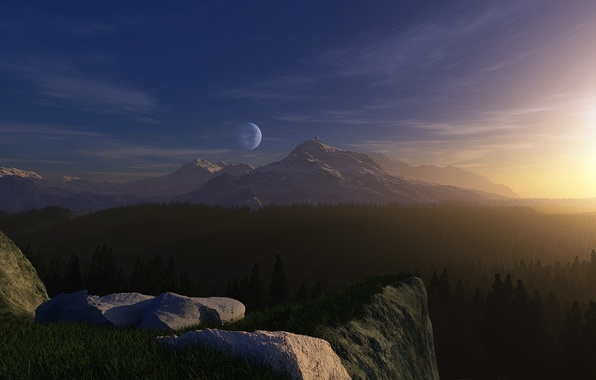 Picture forest, grass, light, planet, Mountains